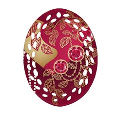 Love Heart Oval Filigree Ornament (two Sides) by BangZart