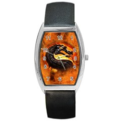 Dragon And Fire Barrel Style Metal Watch by BangZart