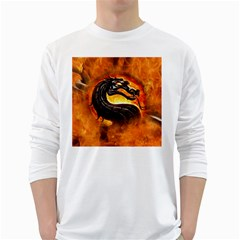 Dragon And Fire White Long Sleeve T-shirts by BangZart