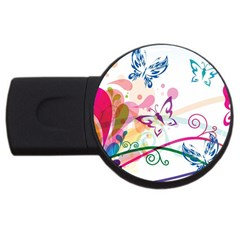 Butterfly Vector Art Usb Flash Drive Round (4 Gb)