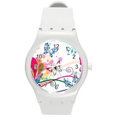 Butterfly Vector Art Round Plastic Sport Watch (m)