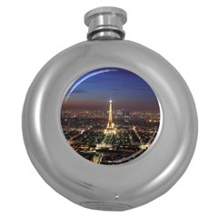 Paris At Night Round Hip Flask (5 Oz) by BangZart