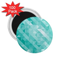 Bright Blue Turquoise Polygonal Background 2 25  Magnets (100 Pack)  by TastefulDesigns