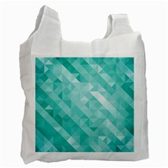 Bright Blue Turquoise Polygonal Background Recycle Bag (one Side) by TastefulDesigns