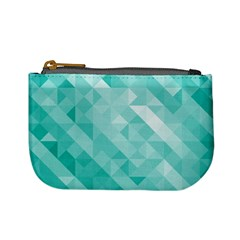 Bright Blue Turquoise Polygonal Background Mini Coin Purses