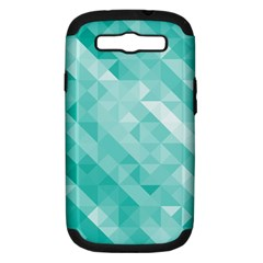 Bright Blue Turquoise Polygonal Background Samsung Galaxy S Iii Hardshell Case (pc+silicone)