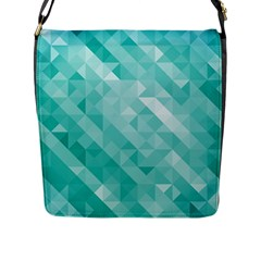 Bright Blue Turquoise Polygonal Background Flap Messenger Bag (l)  by TastefulDesigns