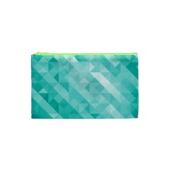 Bright Blue Turquoise Polygonal Background Cosmetic Bag (xs) by TastefulDesigns