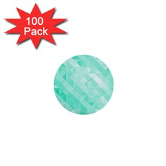 Bright Green Turquoise Geometric Background 1  Mini Buttons (100 Pack)  by TastefulDesigns
