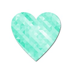 Bright Green Turquoise Geometric Background Heart Magnet by TastefulDesigns