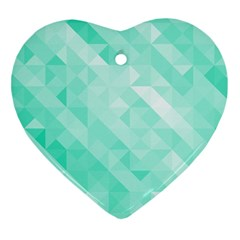 Bright Green Turquoise Geometric Background Heart Ornament (two Sides) by TastefulDesigns