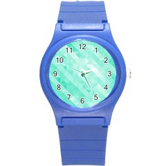 Bright Green Turquoise Geometric Background Round Plastic Sport Watch (s)