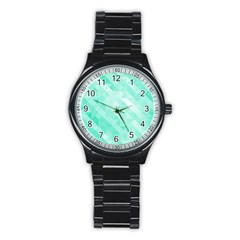 Bright Green Turquoise Geometric Background Stainless Steel Round Watch by TastefulDesigns