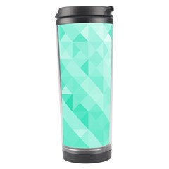 Bright Green Turquoise Geometric Background Travel Tumbler by TastefulDesigns