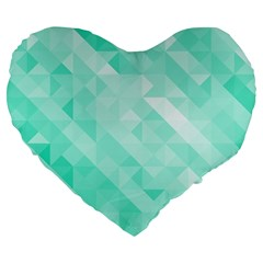 Bright Green Turquoise Geometric Background Large 19  Premium Flano Heart Shape Cushions by TastefulDesigns