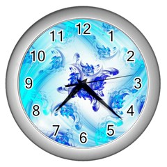 Summer Ice Flower Wall Clocks (silver)  by designsbyamerianna