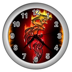 Dragon Fire Wall Clocks (silver)  by BangZart