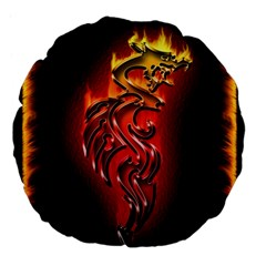 Dragon Fire Large 18  Premium Flano Round Cushions