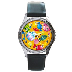 Sweets And Sugar Candies Vector  Round Metal Watch