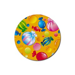 Sweets And Sugar Candies Vector  Rubber Coaster (round)