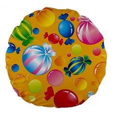 Sweets And Sugar Candies Vector  Large 18  Premium Flano Round Cushions