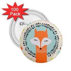 Foxy Fox Canvas Art Print Traditional 2 25  Buttons (100 Pack)