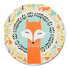 Foxy Fox Canvas Art Print Traditional Magnet 5  (round)
