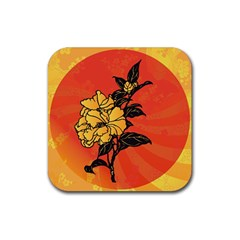 Vector Asian Flowers Rubber Square Coaster (4 Pack)  by BangZart