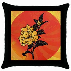 Vector Asian Flowers Throw Pillow Case (black) by BangZart
