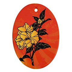 Vector Asian Flowers Oval Ornament (two Sides)