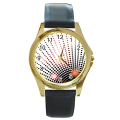 Radial Dotted Lights Round Gold Metal Watch