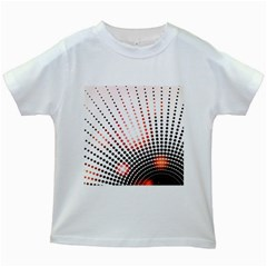 Radial Dotted Lights Kids White T-shirts