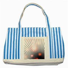 Radial Dotted Lights Striped Blue Tote Bag by BangZart