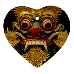 Bali Mask Heart Ornament (two Sides)