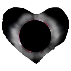 Solar Eclipse Large 19  Premium Flano Heart Shape Cushions by BangZart