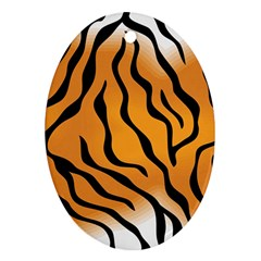 Tiger Skin Pattern Oval Ornament (two Sides)