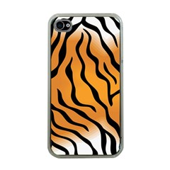Tiger Skin Pattern Apple Iphone 4 Case (clear)