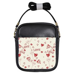 Pattern Hearts Kiss Love Lips Art Vector Girls Sling Bags by BangZart