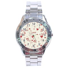 Pattern Hearts Kiss Love Lips Art Vector Stainless Steel Analogue Watch by BangZart