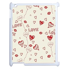 Pattern Hearts Kiss Love Lips Art Vector Apple Ipad 2 Case (white)