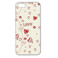 Pattern Hearts Kiss Love Lips Art Vector Apple Seamless Iphone 5 Case (clear)