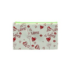 Pattern Hearts Kiss Love Lips Art Vector Cosmetic Bag (xs) by BangZart
