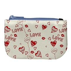 Pattern Hearts Kiss Love Lips Art Vector Large Coin Purse by BangZart