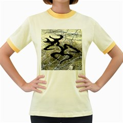 Black Love Browning Deer Camo Women s Fitted Ringer T Shirts
