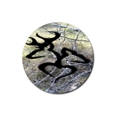 Black Love Browning Deer Camo Rubber Round Coaster (4 Pack)