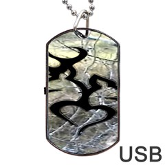 Black Love Browning Deer Camo Dog Tag Usb Flash (one Side)