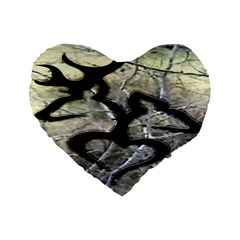 Black Love Browning Deer Camo Standard 16  Premium Heart Shape Cushions by BangZart