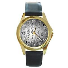Science Formulas Round Gold Metal Watch