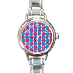 Pink And Bluedots Pattern Round Italian Charm Watch by BangZart