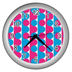 Pink And Bluedots Pattern Wall Clocks (silver)